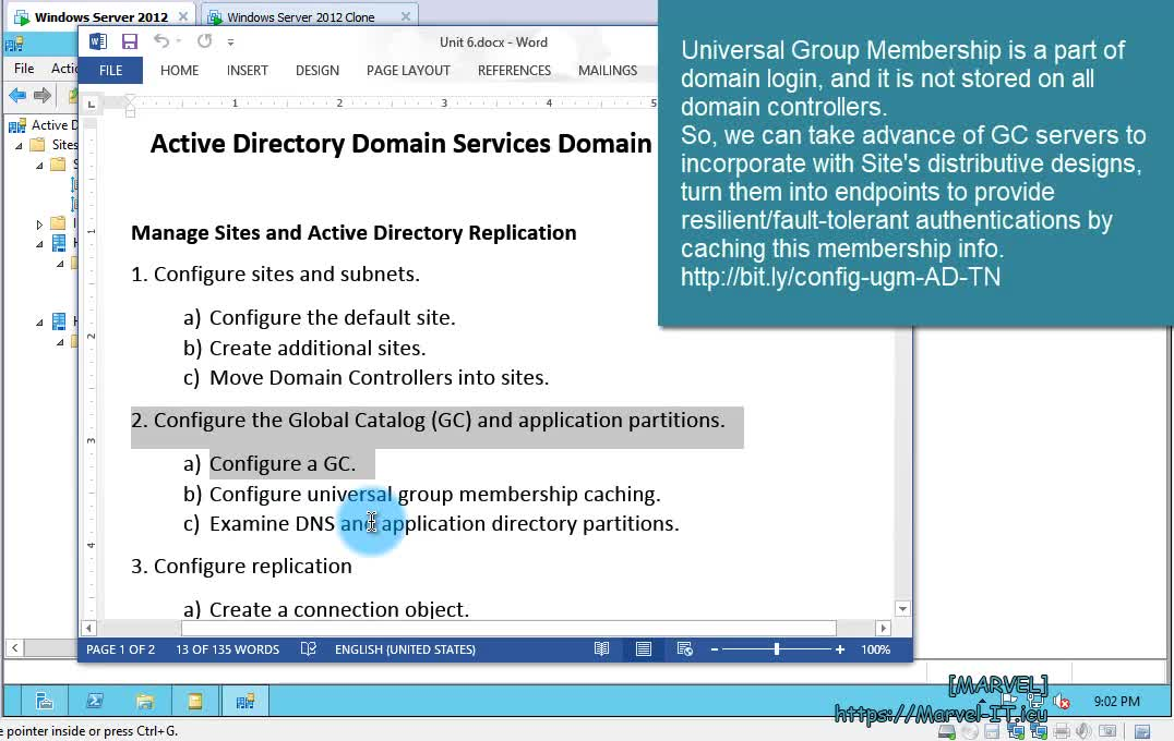 6 2 Configure the Global Catalog GC UMGC examine directory partitions AD DNS zones WS 2012 | IADDSWSE - Implementing AD Domain Services on a Windows Server Environment