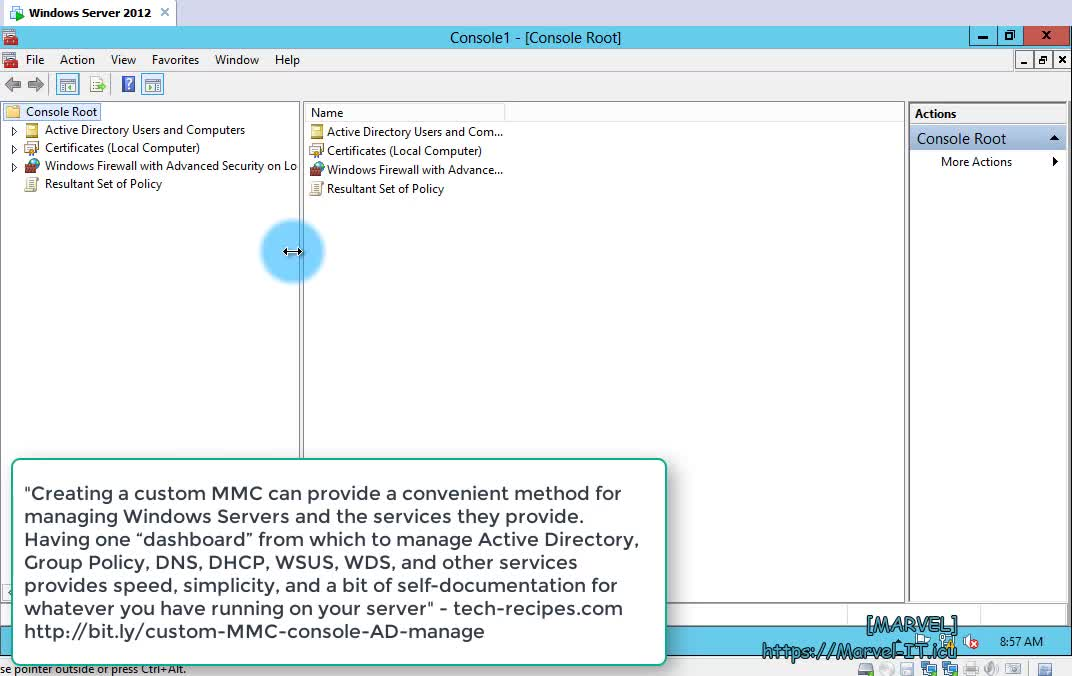 2 1 1 Create a custom Active Directory administrative console MMC Windows Server 2012 R2 | IADDSWSE - Implementing AD Domain Services on a Windows Server Environment