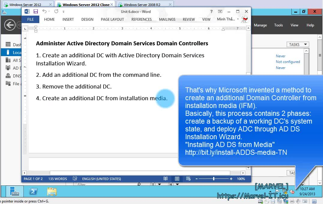 6 4 4 Create an additional Domain Controller from installation media IFM NTDSUTIL SYSVOL FULL DIT | IADDSWSE - Implementing AD Domain Services on a Windows Server Environment