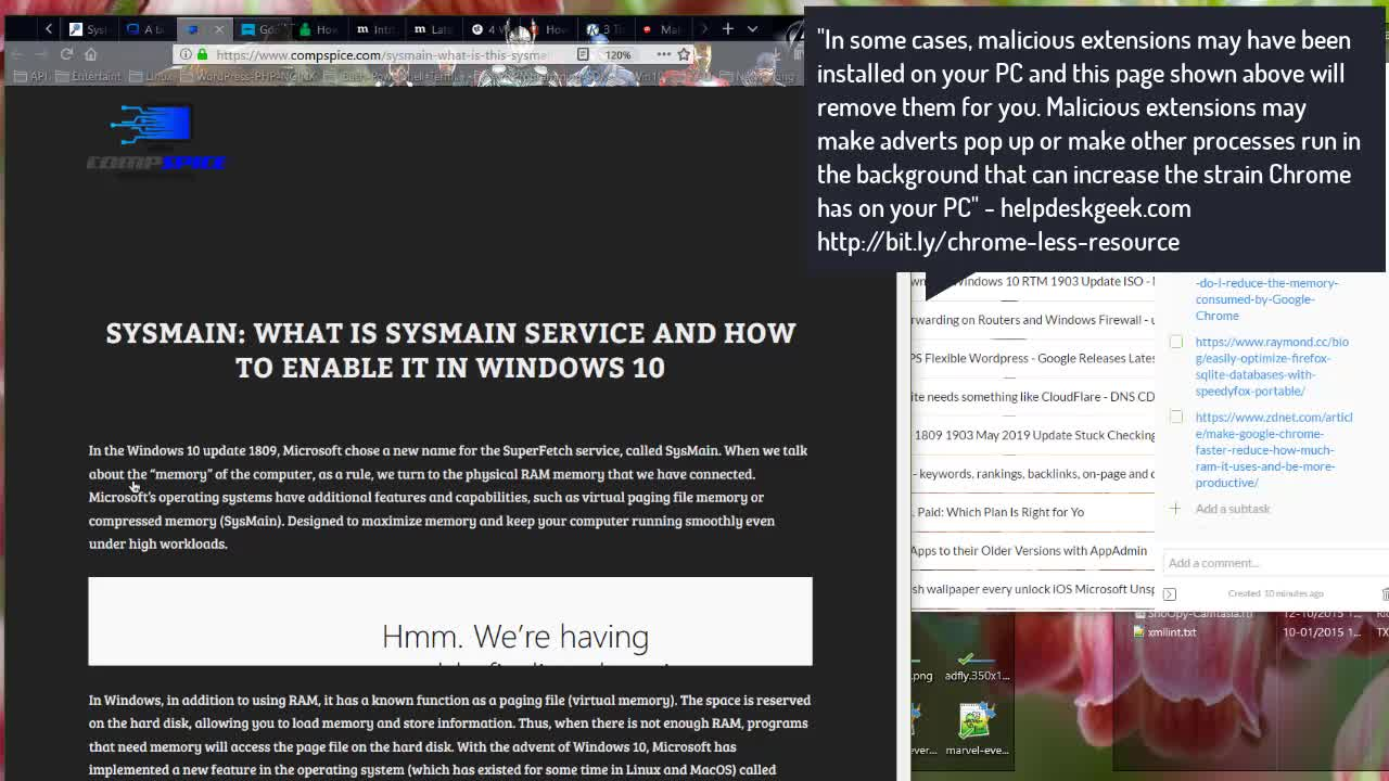Chrome Firefox and Windows 10 May Update 1903 SysMain Compressed Memory Management SuperFetch | Windows 10 Server 2019