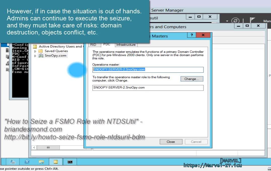 6 5 2 Transfer Flexible Single Master Operation Master Roles Seize FSMO WS 2012 ADUC ntdsutil | IADDSWSE - Implementing AD Domain Services on a Windows Server Environment