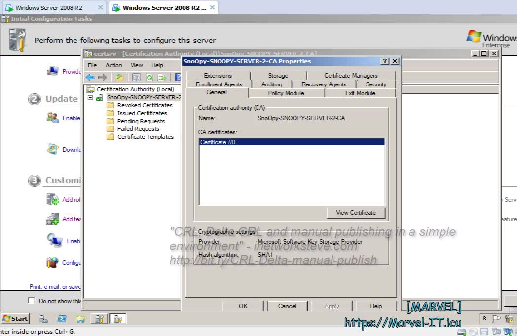 2 5 Publish the Certificate Revocation List manually CDP Base Delta CRL Windows Server 2008 R2 PKI CA | IIAMWAD-Implementing Identity and Access Management in Windows Server Active Directory