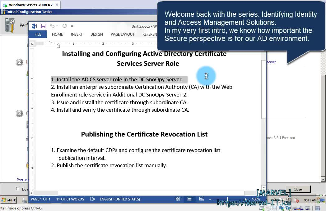 2 1 Install the Active Directory Certificate Services role Windows Server 2012 R2 Domain DC | IIAMWAD-Implementing Identity and Access Management in Windows Server Active Directory