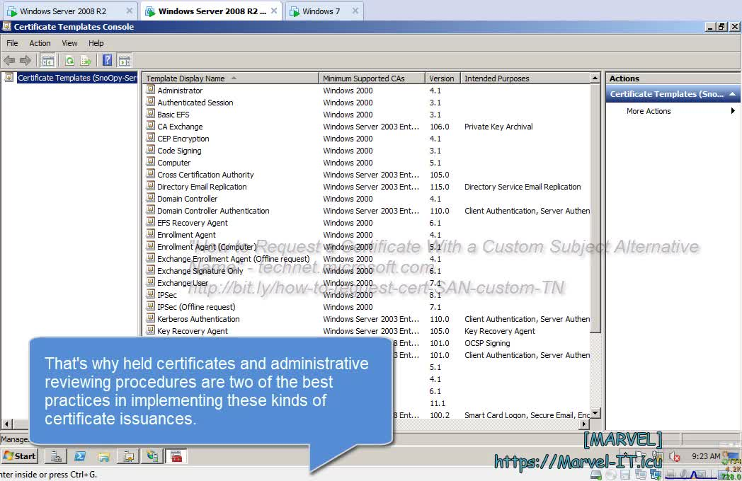3 3 Set permissions Domain Computers Web Server certificate template IIS Enrollment Sub Enterprise CA | IIAMWAD-Implementing Identity and Access Management in Windows Server Active Directory